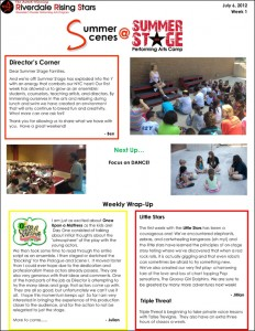 Summer Stage 2012 Newsletter - Week 1