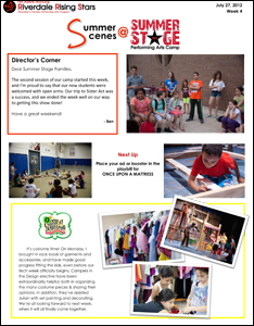 Summer Stage Newsletter 2012 Week 4